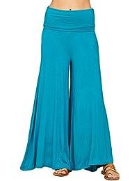 Women's Comfy High Waist Fold Over Wide Leg Palazzo Pants...