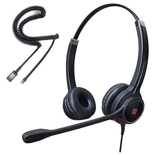 IPD IPH-255 Optimo Double Ear Noise Cancelling Headset for Call Center,Office and Landline Phones, Corded Telephone Headset with U10 Bottom Cable with RJ9 Jack Works with All Cisco IP& Other Phones