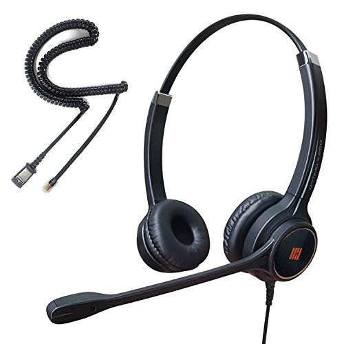 IPD IPH-255 Optimo Double Ear Noise Cancelling Headset for Landline Phone Headset w U10 Bottom Cable w RJ9 Jack Works with Most Cisco IP Phones and Other Phones