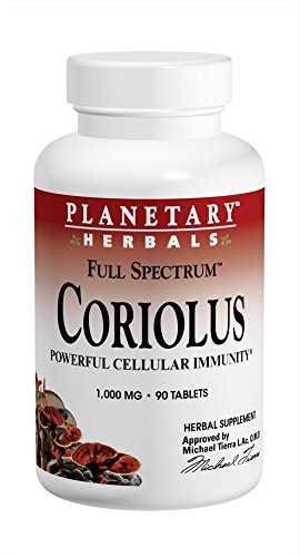 (Planetary Herbals Coriolus Full Spectrum 1000mg, Powerful Cellular Immunity, 90 Tablets)