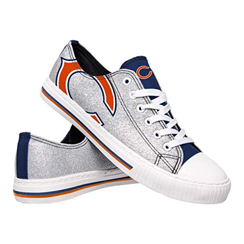 FOCO NFL Chicago Bears Womens Glitter Low Top Canvas Shoesglitter Low Top Canvas Shoes, Team Color, 7/Medium