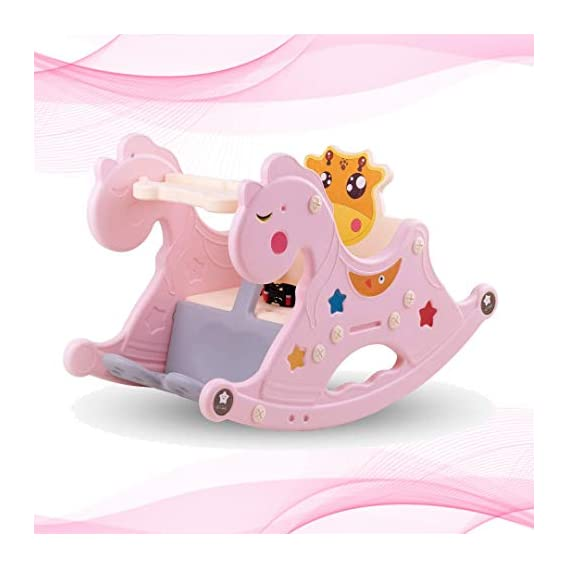 GoodLuck Baybee Baby Rocking Horse for Kids/Toddlers Chair for Plastic Ride-on Toy Table Indoors and Outdoors for 12 Months-3 Years Boys and Girls (Pink)