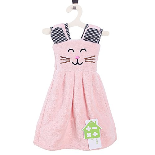 Zhenxinmei Multipurpose Coral Fleece Cleaning Cloth Cute Small Cat Skirt Hand Towel Durable Strong Absorbent Kitchen Dishcloth Eco-Friendly Not Lose Hair Home Duster Cloth 11x14 inch (light pink)