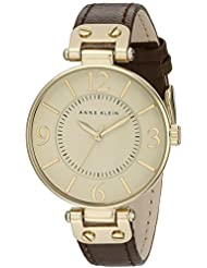 Anne Klein Womens 109168IVBN Gold-Tone and Brown Leather Strap Watch