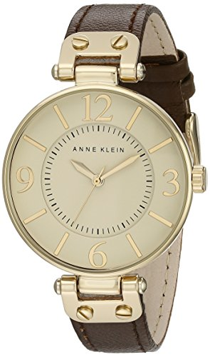Anne Klein Women's 109168IVBN Gold-Tone and Brown Leather Strap Watch ()