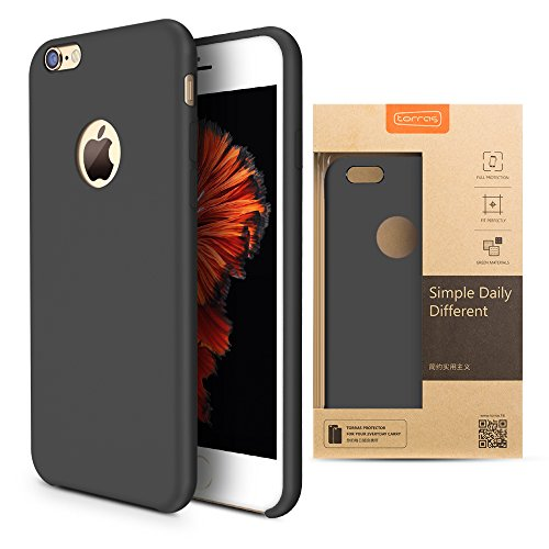Black Silicone Cell Phone Case (iPhone 6s Case, TORRAS [Love Series] Liquid Silicone Rubber iPhone 6 6S Shockproof Case with Soft Microfiber Cloth Cushion (4.7 inches))-)