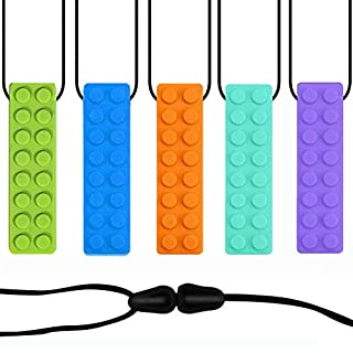 JJGoo Kids Chew Necklace for Sensory Boys Girls, JJGoo 5 Pack Food-Grade Silicone Tube Teether, Silicone Chewy Necklace Teething Bundle for Autistic, ADHD, Oral Motor