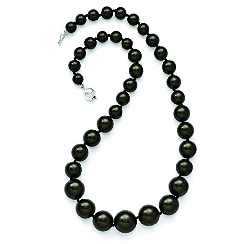 ICE CARATS 925 Sterling Silver Majestik 8 16mm Graduated Black Shell Bead Chain Necklace Pearl Fine Jewelry Gift Set For Women Heart by ICE CARATS (Image #3)
