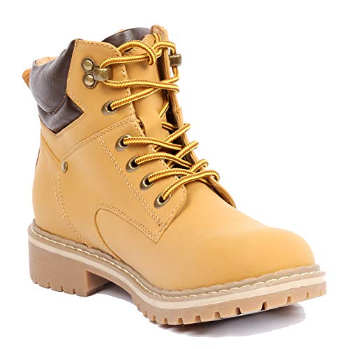 Forever Women's Ankle High Combat Hiking Boots, Camel, 7.5]()