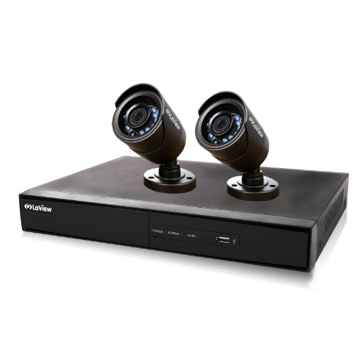 LaView 2 Camera 960H Security System, 4 Channel 960H DVR w/500GB HDD and 2 600TVL Black Bullet Camera Surveillance Kit