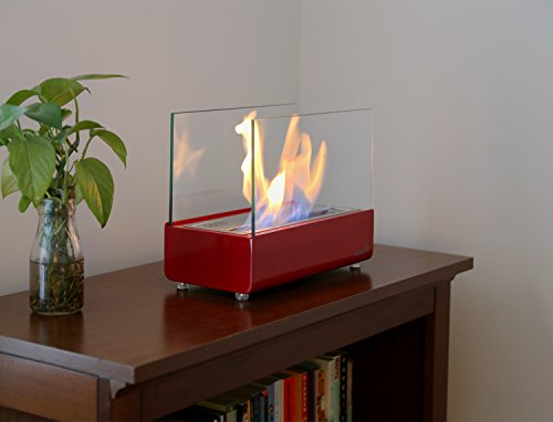 Ventless Tabletop Fireplace – Red Stainless Steel Portable Bio ...