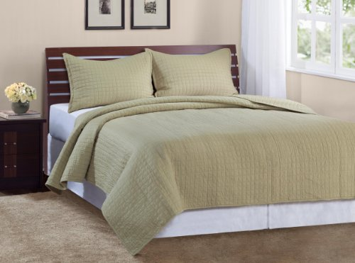 Quilted Microsuede Pillow (Marcini Luxury Queen Size 3-piece Cotton Quilt Bedspread Set, Melon Lichen)