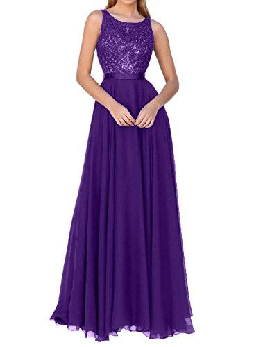 Lila 2018 Spitze Charmant Dunkel Partykleider Brautmutterkleider Elegant A linie Abendkleider Neu Damen Festlichkleider RIIq57