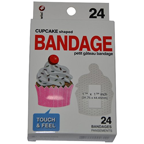 BioSwiss Novelty Bandages Self-Adhesive Funny First Aid, Novelty Gag Gift (24pc) (Cupcake)
