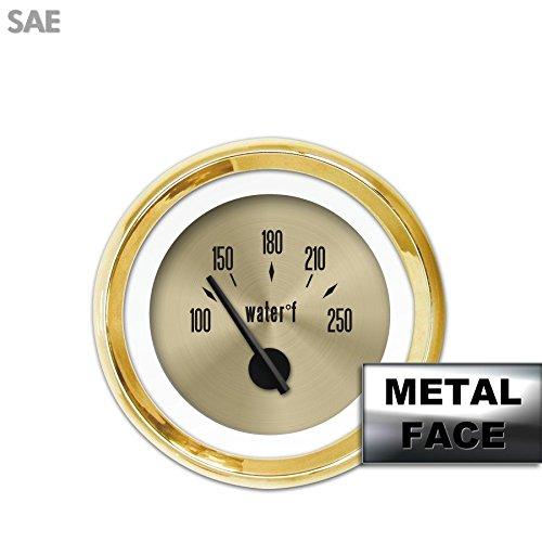 Aurora Instruments 4249 American Classic Water Temperature Gauge Gold Face, Black Modern Needles, Gold Bezels