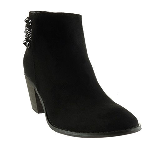 Ankle Jewelry Heel Women's Cavalier Studded High Black cm Angkorly Fashion Booty Shoes 7 Block Boots Rhinestone qTctw1U