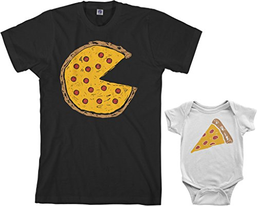 Threadrock Pizza Pie & Slice Infant Bodysuit & Men's T-Shirt Matching Set (Baby: 6M, White|Men's: 2XL, Black)