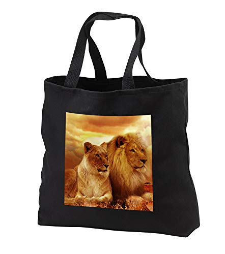 Sven Herkenrath Animal - Beautiful Lion and Lioness Couple Wildlife Photography - Tote Bags - Black Tote Bag 14w x 14h x 3d (tb_288288_1) by 3dRose