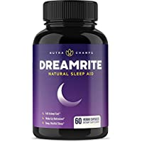Natural Sleep Aid - Stress, Anxiety & Insomnia Relief Supplement - Non-Habit Forming Herbal Sleeping Pills for Adults with Valerian, Chamomile, Magnesium, Melatonin - DREAMRITE 60 Vegan Capsules