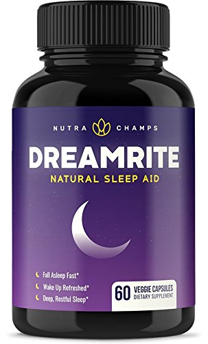 DREAMRITE Natural Sleep Aid - Non-Habit Forming Vegan Sleeping Pills - Herbal Complex with Valerian, Chamomile, Magnesium, Hops Extract, Melatonin - 60 Vegetarian Capsules - Relax & Calm Supplement (Best Sleeping Pills For Plane)