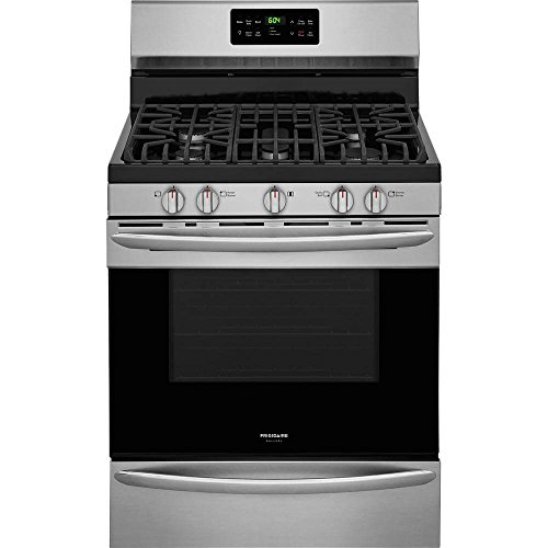 Frigidaire FGGF3047TF Gallery Series 30 Inch Freestanding Gas Range with 5 Sealed Burner Cooktop, 5 cu. ft. Primary Oven Capacity, in Stainless Steel ()