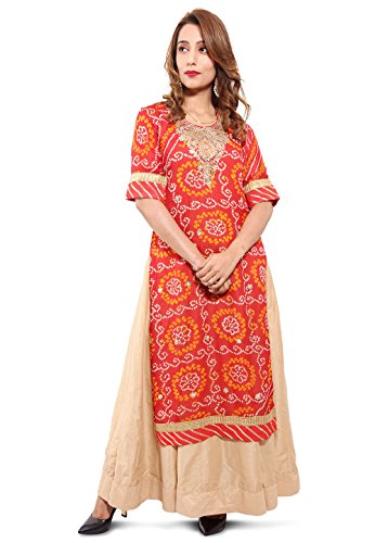 Utsav Fashion Embroidered Neckline Pure Chinon Crepe Abaya Style Suit in Red