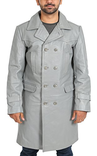 Real Leather 3/4 Length Trench Double Breasted Coat for Men Submarine Grey (XX-Large)