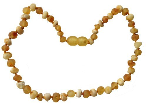 NATURAL Baltic Amber Teething Necklace by UMAI - UNISEX Unpolished (RAW) Milk and Honey- TESTED and CERTIFIED in the USA