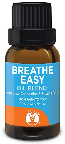 Gurunanda Breathe Easy Essential Oil Blend   Synergy Blend For Congestion   Eucalyptus   Peppermint   Basil   Rosemary   Tea Tree   All Natural Essential Oils   100  Pure Therapeutic Grade 15Ml