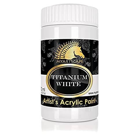 Acrylic Paint - Titanium White - 300ml - Artist Quality Paints for Painting Canvas, Wood, Clay, Fabric, Nail Art, Ceramic & Crafts - Heavy Body Color - Professional Supplies by MyArtscape