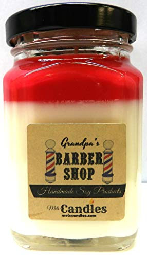 Barber Shop 6oz Victorian Square Glass Jar Soy Candle - Made with Essential Oil Sophisticated and Timeless Wholesale Candles ()