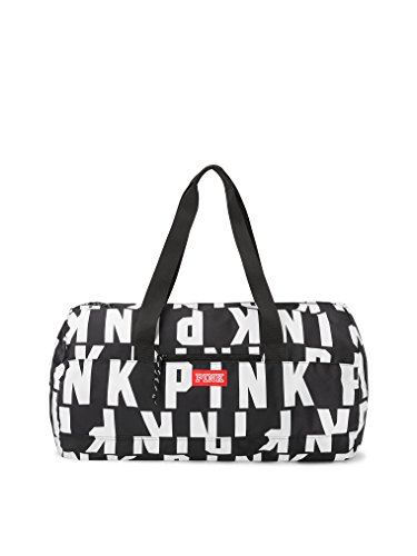 (Victoria's Secret Pink Friday Duffle Tote Black & White All Over Logo)
