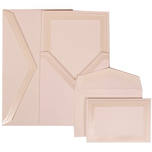 JAM Paper® Wedding Invitation Combo Set - White Card with Ivory Border Envelope with Ivory Border Pocket - 1 Small & 1 Large - 150/pack by JAM Paper