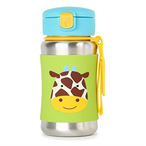 Skip Hop Kids Water Bottle With Straw, Stainless Steel Sippy Cup, Giraffe