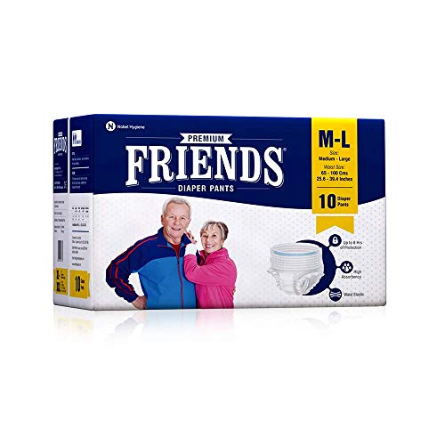 Friends Premium Adult Diapers Pant Style – 10 Count -M- with odour lock and Anti-Bacterial Absorbent Core- Waist Size 25…