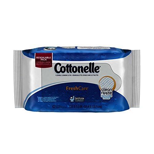 Cottonelle Fresh Care Flushable Cleansing Cloths Pouch, 42 Count
