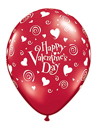 Greenleaf 11 Inches Happy Valentine's Day Swirling Hearts Balloon Pack of 50 Childrens Party Decorations