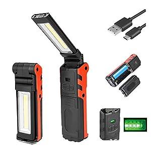 COOLEAD COB 作業灯 LEDワークライト USB充電式 懐中電灯 高輝度 マグネットスタンド&フック付き