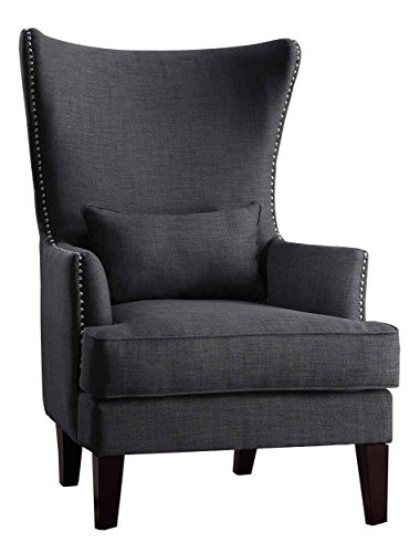 Homelegance Avina Wingback Accent Arm Chair With Nail Heads, Charcoal