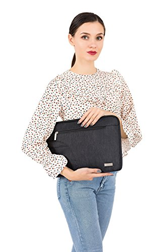 MOSISO Laptop Shoulder Bag Compatible 15-15.6 Inch MacBook Pro, Ultrabook Netbook Tablet, Polyester Ultraportable Protective Briefcase Carrying Handbag Sleeve Case Cover, Black by MOSISO (Image #5)