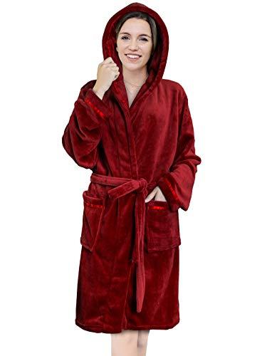 Women's Spa Robe with Hood, Satin Trim   Plush Short Robe Knee Length (Wine) (Hooded Robe Short)
