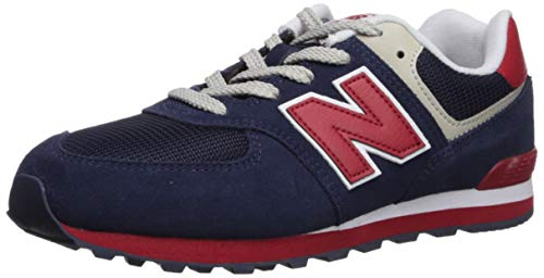 New Balance Boys' Iconic 574 V1 Running Shoe, Navy/RED, 4.5 W US Big Kid (Suede 574 Mens Running Shoes)