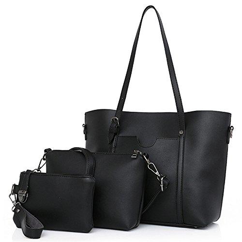 Meaeo Bolso Messenger Bag Nueva Bun Madre Tres Piezas Todos-Match Personalidad De La Moda, Negro black