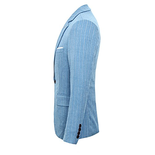 3 One Wedding Piece Blue Single Mens Suit Pinstripe Breasted Button OxU6qYI