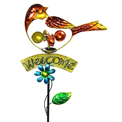 Exhart Orange Bird Welcome Sign Garden Stake Wind Spinner - Metal Orange Bird Kinetic Spinners in UV-Treated Metallic Coat - Kinetic Art Vertical Wind Spinners in Bird Metal Design, 11 x 36 Inches (Yard Welcome Garden Sign)
