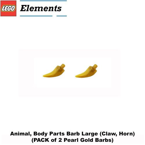 Lego Parts  Animal  Body Parts Barb Large  Pack Of 2   Pearl Gold Claw Horns