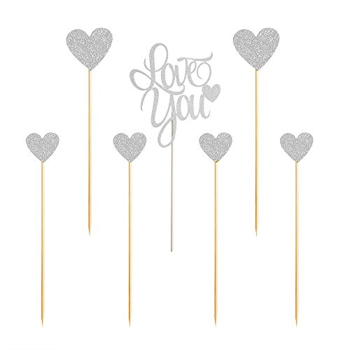 PALASASA Love you Wedding Cake Toppers ,Sparkling Silver Glittery Birthday Cupcake Picks,Wedding Party (Halloween Decorations Etsy)