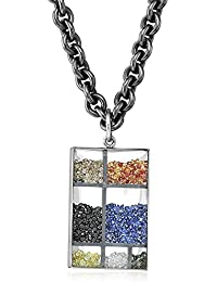 """Kaleidoscope"" 18K White Gold Floating Color Diamonds and Color Sapphire Rectangular Pendant Necklace"