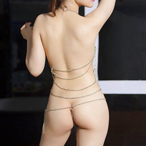 Sexemara Women's Lingerie Chain Set Cross Enticing Tassel Body Link Harness Sexy Metal Chain Set