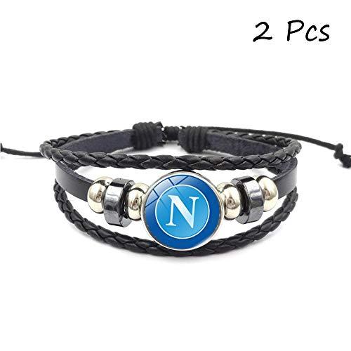 - FANwenfeng Retro Serie A Soccer Club Badge Beaded Woven Leather Bracelet Football Sport Wristband for Fans 2 Pcs (Società Sportiva Calcio Napoli)
